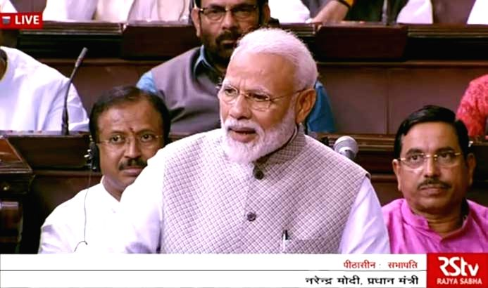New Delhi: Prime Minister Narendra Modi addresses in Rajya Sabha in Parliament, New Delhi on June 26, 2019. (Photo: IANS/RSTV) - Narendra Modi