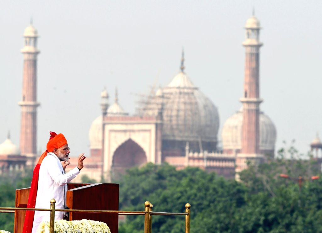 New Delhi: Prime Minister Narendra Modi addresses the Nation on the occasion of 72nd Independence Day from the ramparts of Red Fort, in Delhi on Aug 15, 2018. (Photo: IANS/PIB) - Narendra Modi