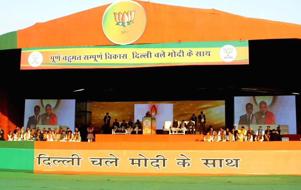 Prime Minister Narendra Modi addressing a election rally in New Delhi on Jan. 31, 2015. - Narendra Modi