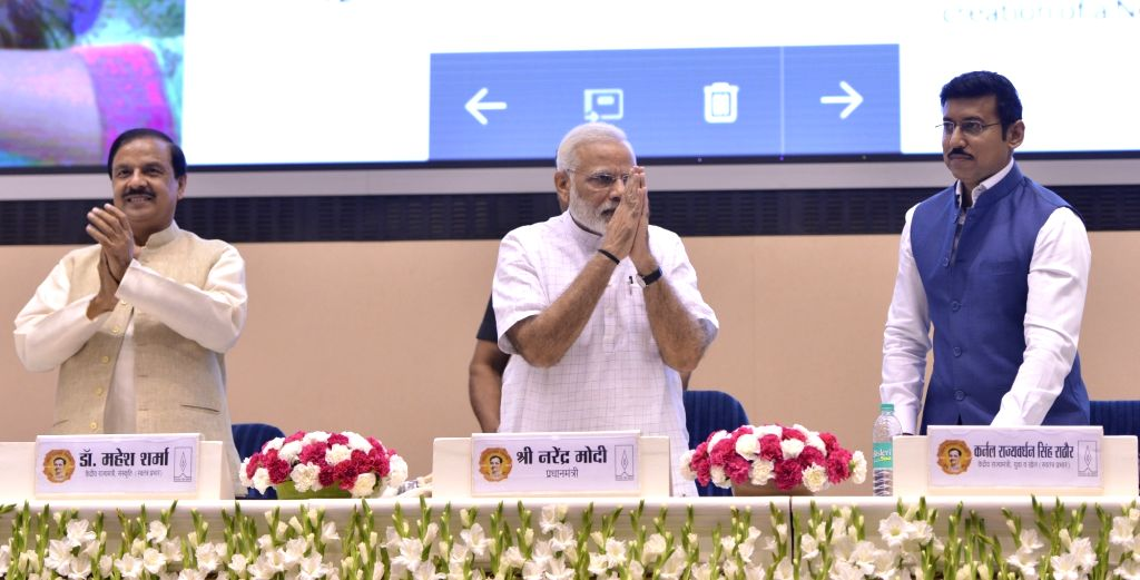 New Delhi: Prime Minister Narendra Modi along with Ministers of State Mahesh Sharma and Rajyavardhan Singh Rathore during convention of student leaders on the theme of 'Young India, New ... - Narendra Modi, Mahesh Sharma and Rajyavardhan Singh Rathore