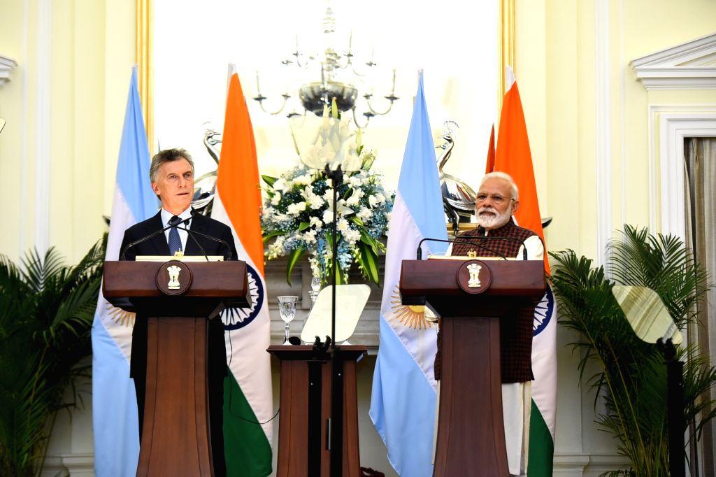 New Delhi: Prime Minister Narendra Modi and Argentina President Mauricio Macri during the joint press statement, in New Delhi, on Feb 18, 2019. (Photo: IANS/MEA) - Narendra Modi