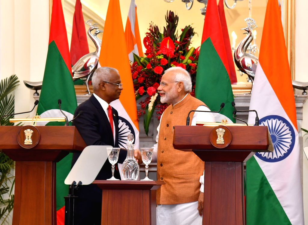 New Delhi: Prime Minister Narendra Modi and Maldives President Ibrahim Mohamed Solih at the Joint Press Statement at Hyderabad House in New Delhi, on Dec 17, 2018. (Photo: IANS/PIB) - Narendra Modi