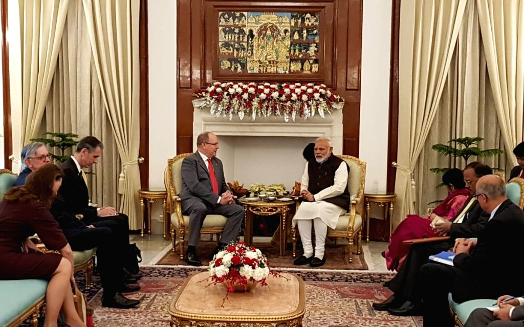 New Delhi: Prime Minister Narendra Modi and Monaco Head of State Prince Albert II during a bilateral meeting, in New Delhi, on Feb 5, 2019. (Photo: IANS/MEA) - Narendra Modi