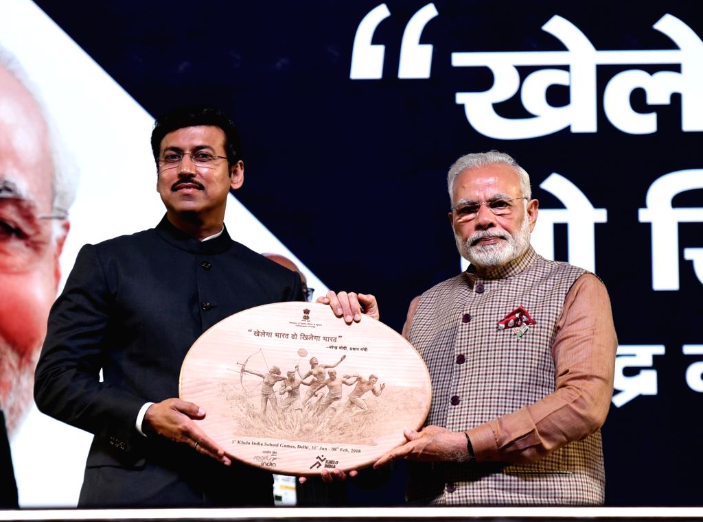 :New Delhi: Prime Minister Narendra Modi and MoS for Youth Affairs and Sports (I/C) and Information and Broadcasting Col. Rajyavardhan Singh Rathore at the inauguration of the first edition of ...