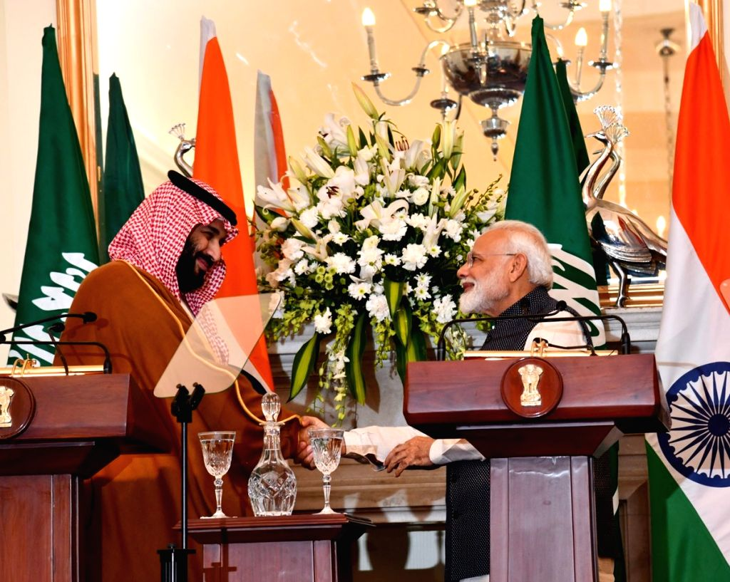 New Delhi: Prime Minister Narendra Modi and Saudi Crown Prince Mohammad Bin Salman during the joint press meet at Hyderabad House in New Delhi on Feb 20, 2019. (Photo: IANS/PIB) - Narendra Modi