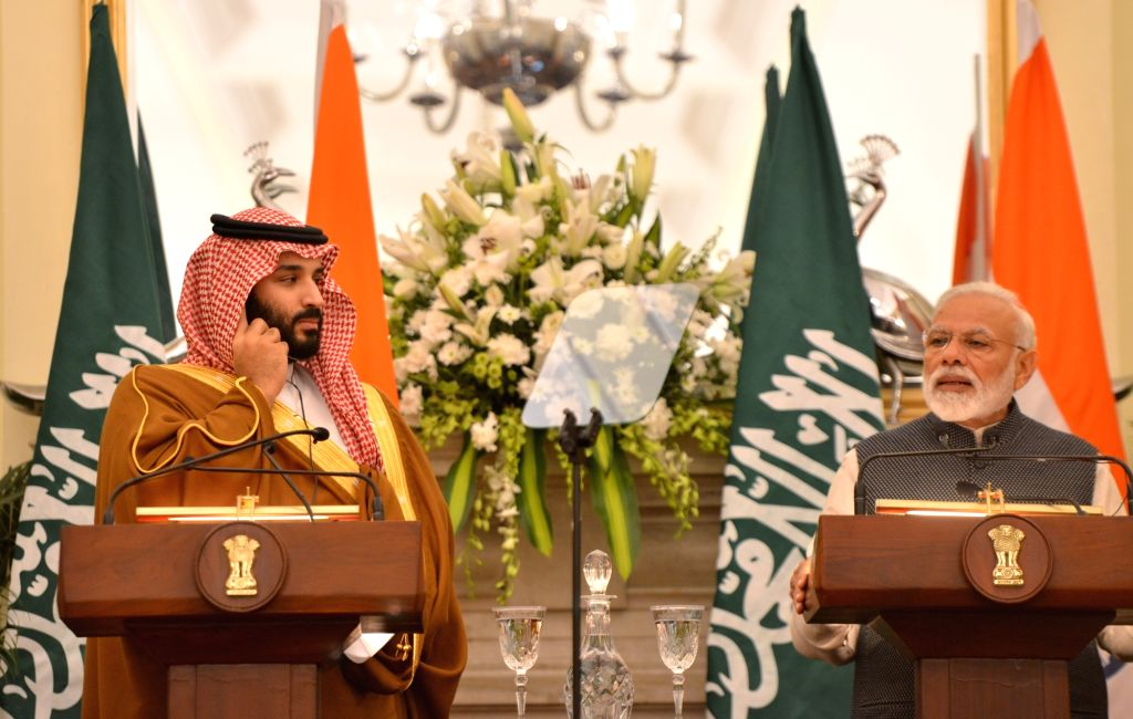New Delhi: Prime Minister Narendra Modi and Saudi Crown Prince Mohammad Bin Salman during the joint press meet at Hyderabad House in New Delhi on Feb 20, 2019. (Photo: IANS) - Narendra Modi