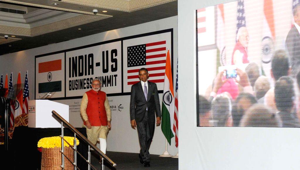 Prime Minister Narendra Modi and the US President Barack Obama at the India-US Business Summit, in New Delhi on Jan 26, 2015. - Narendra Modi
