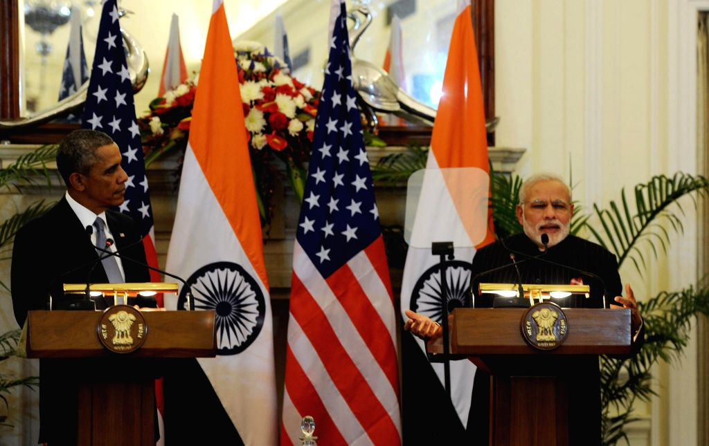 Prime Minister Narendra Modi and US President Barack Obama during the Joint Press Interaction held at the Hyderabad House, in New Delhi on Jan 25, 2015. - Narendra Modi