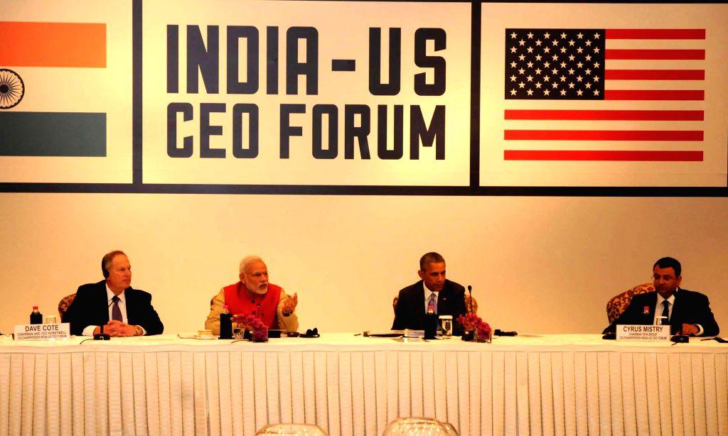 Prime Minister Narendra Modi and US President Barack Obama at the India-US CEO Forum Meeting, in New Delhi on Jan 26, 2015. - Narendra Modi