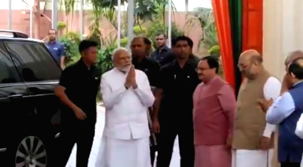New Delhi: Prime Minister Narendra Modi arrives at the BJP's Central Election Committee (CEC) meeting where candidates for Maharashtra and Haryana assembly elections are likely to be finalised in New Delhi, on 29 Sep, 2019. (Photo: IANS) - Narendra Modi