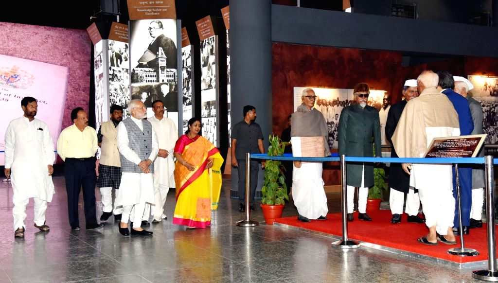 :New Delhi: Prime Minister Narendra Modi at the inauguration of the Dr. Ambedkar National Memorial at 26 Alipur Road, Delhi on April 13, 2018. Also seen Union Ministers Thaawar Chand Gehlot, Ram ...