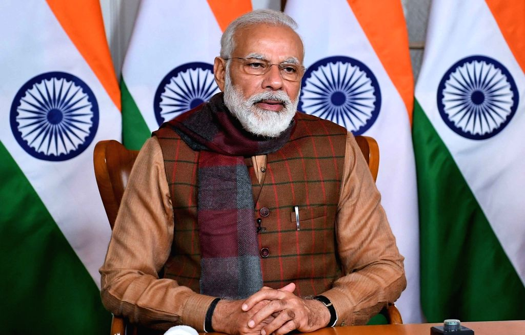 New Delhi: Prime Minister Narendra Modi at the joint inauguration of the second Integrated Check Post (ICP) at Jogbani - Biratnagar with his Nepalese counterpart KP Sharma Oli through Video Conferencing, in New Delhi on Jan 21, 2020. (Photo: IANS/PIB - Narendra Modi