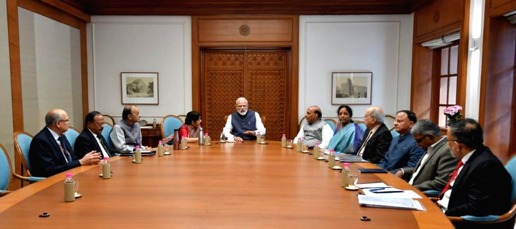 New Delhi: Prime Minister Narendra Modi chairs a meeting of Cabinet Committee on Security (CCS) in New Delhi on Feb 26, 2019. Also seen Union Finance Minister Arun Jaitley, External Affairs Sushma Swaraj, Union Home Minister Rajnath Singh, Defence Mi - Narendra Modi, Sushma Swaraj, Arun Jaitley and Rajnath Singh
