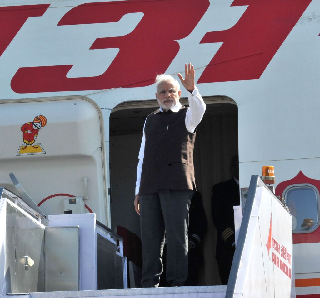 Prime Minister Narendra Modi departs for his three nation visit to France, Germany and Canada, from New Delhi on April 9, 2015. - Narendra Modi