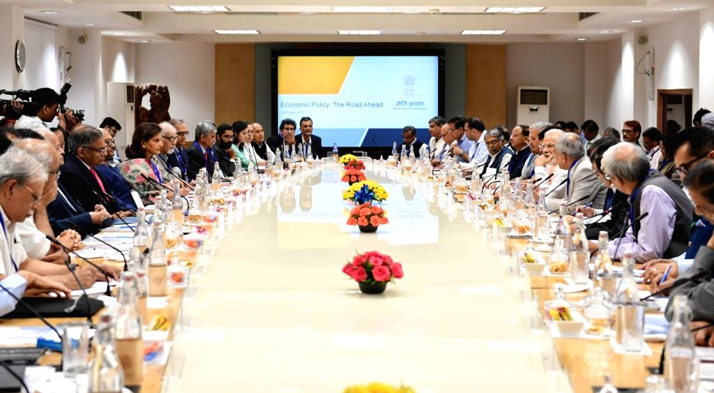 New Delhi: Prime Minister Narendra Modi during a meeting with leading economists to discuss key issues including employment, agriculture, education, and health in the run-up to the Budget in New Delhi on June 22, 2019. Modi interacted with over 40 ec - Narendra Modi