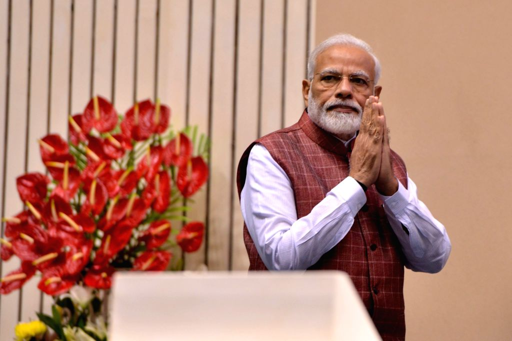 New Delhi: Prime Minister Narendra Modi during 'Arogya Manthan' programme organised on the first anniversary of Ayushman Bharat-Pradhan Mantri Jan Arogya Yojna (AB-PMJAY), in New Delhi on Oct 1, 2019. (Photo: IANS) - Narendra Modi
