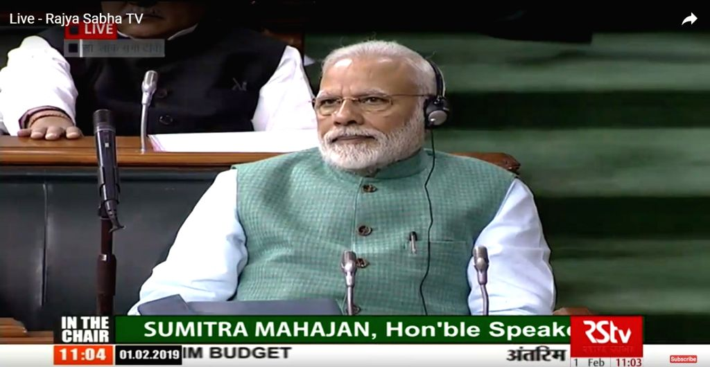 New Delhi: Prime Minister Narendra Modi during budget session of Parliament in New Delhi on Feb 1, 2019. Union Finance and Corporate Affairs Minister Piyush Goyal is presenting interim Budget for 2019-20 in the house. (Photo: IANS/RSTV) - Narendra Modi