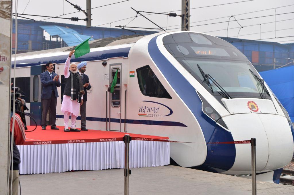 New Delhi: Prime Minister Narendra Modi during flag off Vande Bharat Express at New Delhi in New Delhi on Feb. 15, 2019. (Photo: IANS) - Narendra Modi