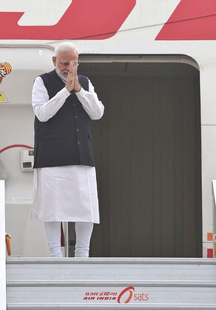 New Delhi: Prime Minister Narendra Modi emplanes for Brazil to participate in the 11th BRICS Summit, from New Delhi on Nov 12, 2019. (Photo: IANS/MEA) - Narendra Modi