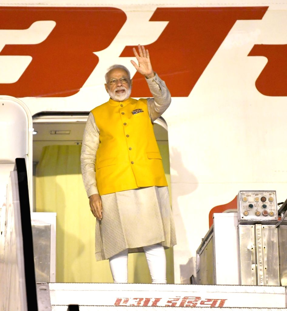 New Delhi: Prime Minister Narendra Modi emplanes for Osaka, Japan to attend the G-20 Summit from New Delhi on June 26, 2019. (Photo: IANS/PIB) - Narendra Modi