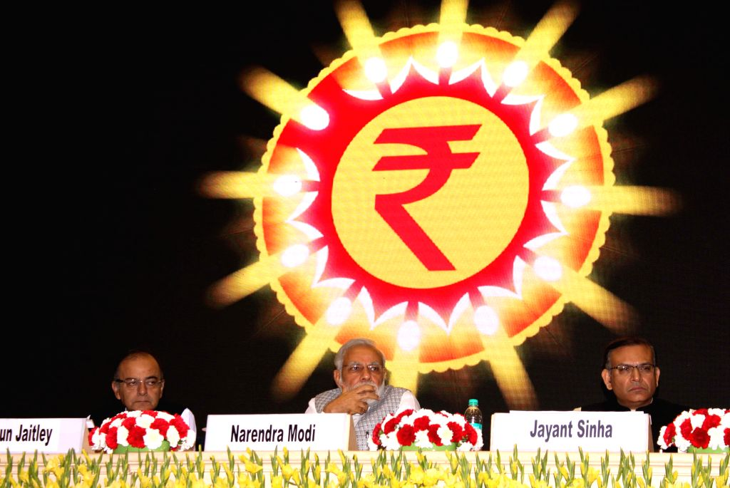 Prime Minister Narendra Modi, Finance Minister Arun Jaitley and MoS Finance, Jayant Sinha at the launch of the Micro Units Development and Refinance Agency Ltd. (MUDRA) - a Bank, in New ... - Narendra Modi, Arun Jaitley and Jayant Sinha