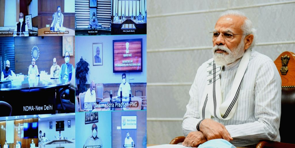 New Delhi: Prime Minister Narendra Modi holding an All Party Meeting via video conferencing to discuss the situation in India-China border areas, in New Delhi on June 19, 2020. Also present at the meeting were Defence Minister Rajnath Singh, External - Narendra Modi and Rajnath Singh