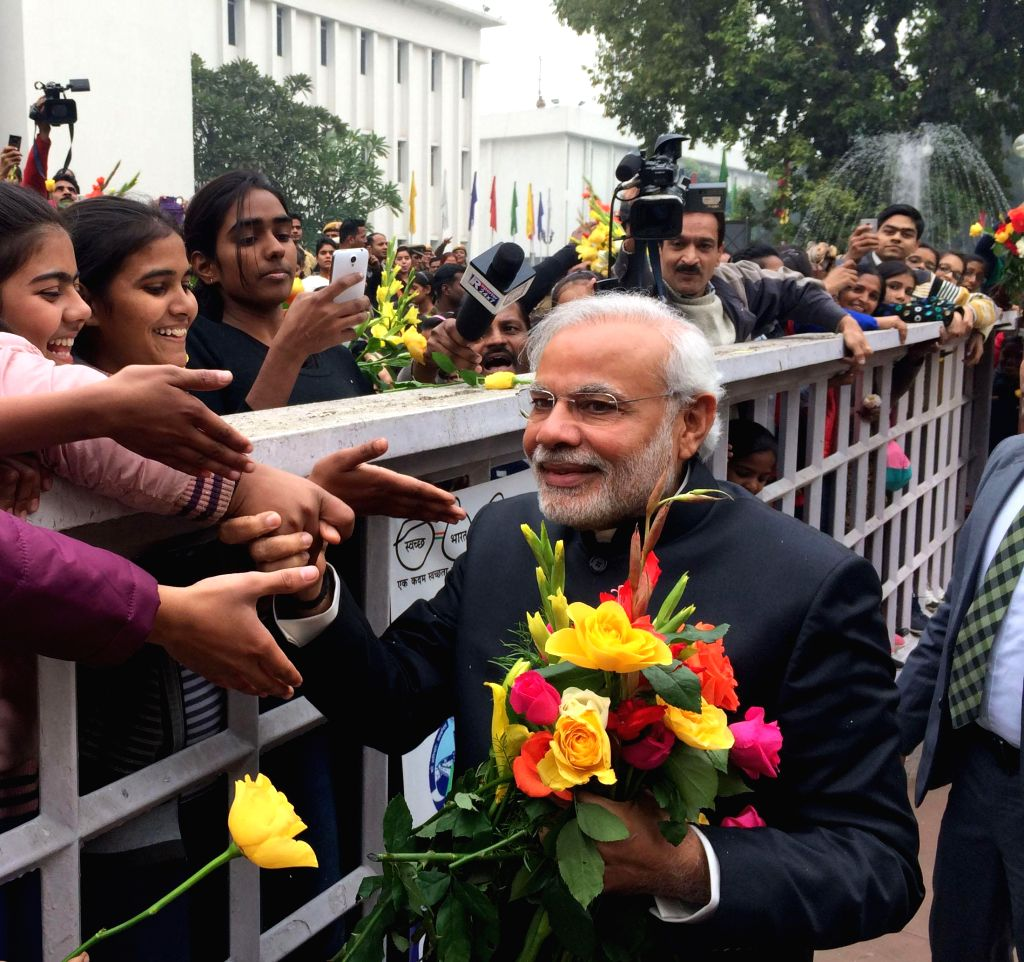 Prime Minister Narendra Modi interacts with people on New Year's Day, in New Delhi on Jan 1, 2015. - Narendra Modi