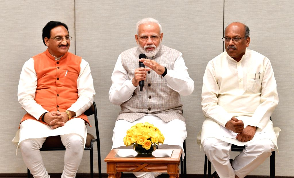 New Delhi: Prime Minister Narendra Modi interacts with the recipients of the National Teacher Awards' 2018, in New Delhi on Sep 3, 2019. Also seen Union Minister for Human Resource Development, Dr. Ramesh Pokhriyal 'Nishank' and the Minister of State - Narendra Modi