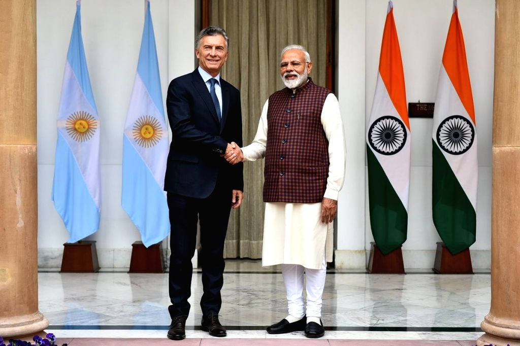 New Delhi: Prime Minister Narendra Modi meets Argentine President Mauricio Macri ahead at Hyderabad House, in New Delhi, on Feb 18, 2019. (Photo: IANS/MEA) - Narendra Modi