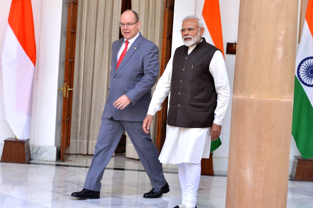 New Delhi: Prime Minister Narendra Modi meets Monaco's Head of State Prince Albert II at Hyderabad House in New Delhi, on Feb 5, 2019. (Photo: IANS) - Narendra Modi