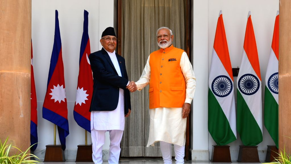 New Delhi: Prime Minister Narendra Modi meets Nepal Prime Minister K.P. Sharma Oli at Hyderabad House in New Delhi, on May 31, 2019. (Photo: IANS/MEA) - Narendra Modi and P. Sharma Oli