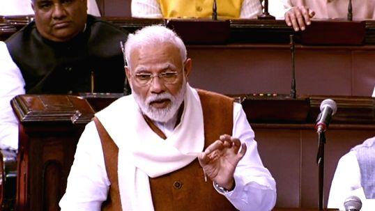 New Delhi: Prime Minister Narendra Modi replies in Rajya Sabha to the Motion of Thanks on the President's Address, on Feb 6, 2020. (Photo: IANS) - Narendra Modi