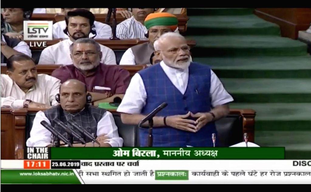 New Delhi: Prime Minister Narendra Modi replies to debate on the Motion of Thanks on the President's address in the Lok Sabha, on June 25, 2019. (Photo: IANS/LSTV) - Narendra Modi