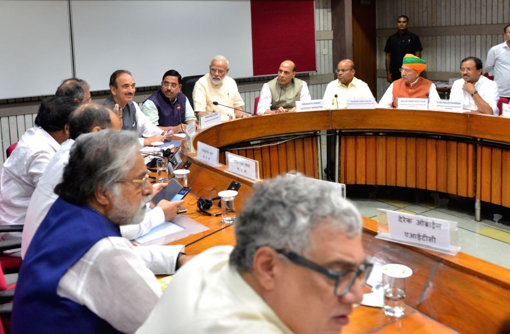 New Delhi: Prime Minister Narendra Modi, Union Ministers Rajnath Singh, Arjun Ram Meghwal and Thawar Chand Gehlot along with Congress leaders Ghulam Nabi Azad, Anand Sharma and others during the all party meeting in New Delhi, on June 16, 2019. (Phot - Narendra Modi, Ministers Rajnath Singh, Arjun Ram Meghwal, Thawar Chand Gehlot and Anand Sharma