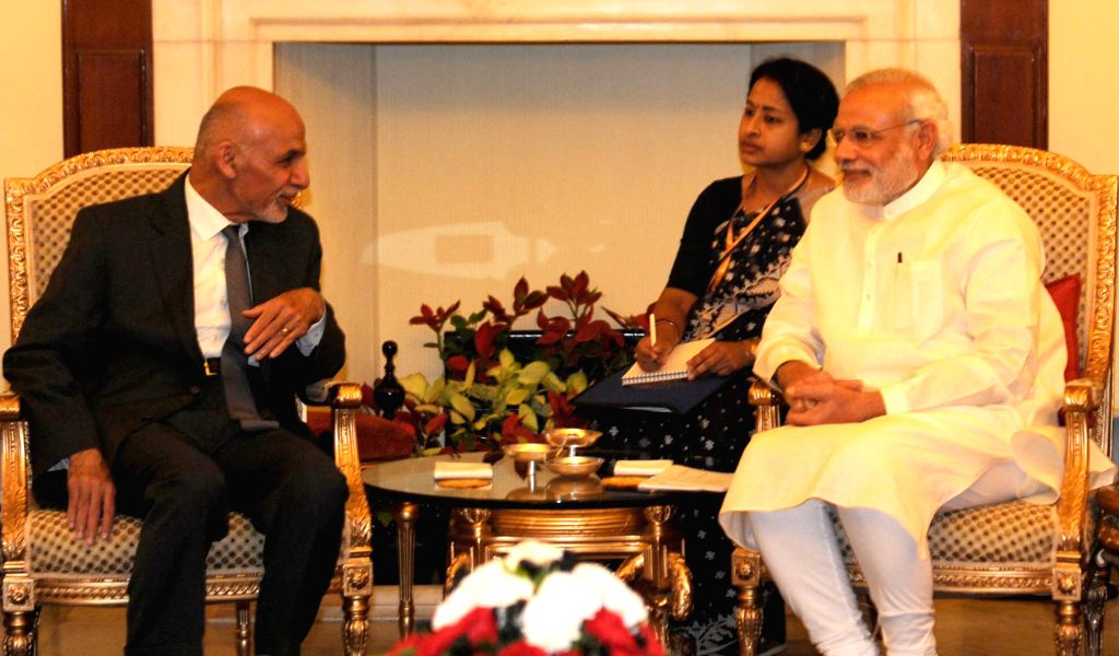 Prime Minister Narendra Modi with Afghanistan President Dr. Mohammad Ashraf Ghani during a meeting at Hyderabad House, in New Delhi on April 28, 2015. - Narendra Modi