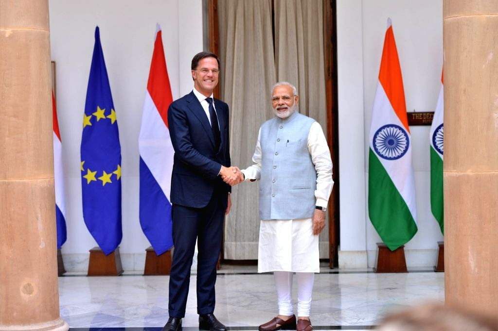 : New Delhi: Prime Minister Narendra Modi with his Dutch counterpart Mark Rutte ahead of a bilateral meeting, at Hyderabad House in New Delhi on May 24, 2018. (Photo: IANS).