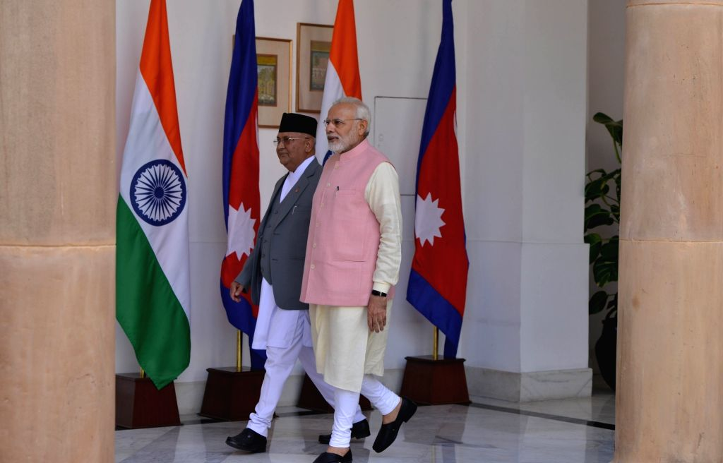 : New Delhi: Prime Minister Narendra Modi with Nepalese Prime Minister K.P. Sharma Oli, at Hyderabad House in New Delhi on April 7, 2018. (Photo: IANS).