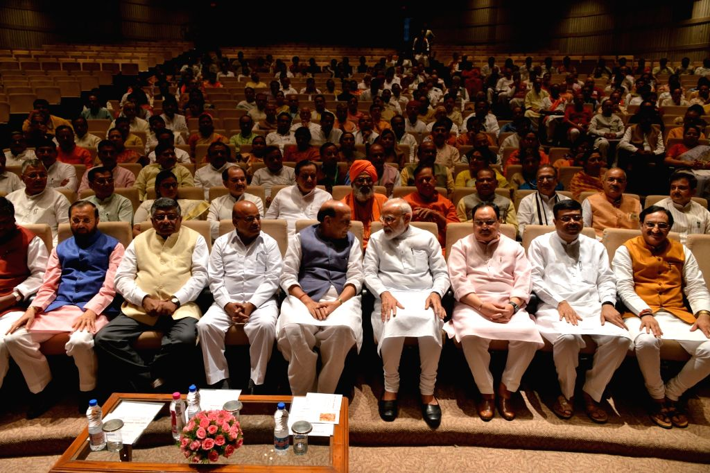 New Delhi: Prime Minister Narendra Modi with Union Ministers Thawar Chand Gehlot, Rajnath Singh, Ravi Shankar Prasad, Prakash Javadekar, Ramesh Pokhriyal Nishank, Dharmendra Pradhan and BJP Working President J.P. Nadda during the BJP Parliamentary Pa - Narendra Modi, Thawar Chand Gehlot, Rajnath Singh, Ravi Shankar Prasad, Prakash Javadekar, Ramesh Pokhriyal Nishank, Dharmendra Pradhan and B