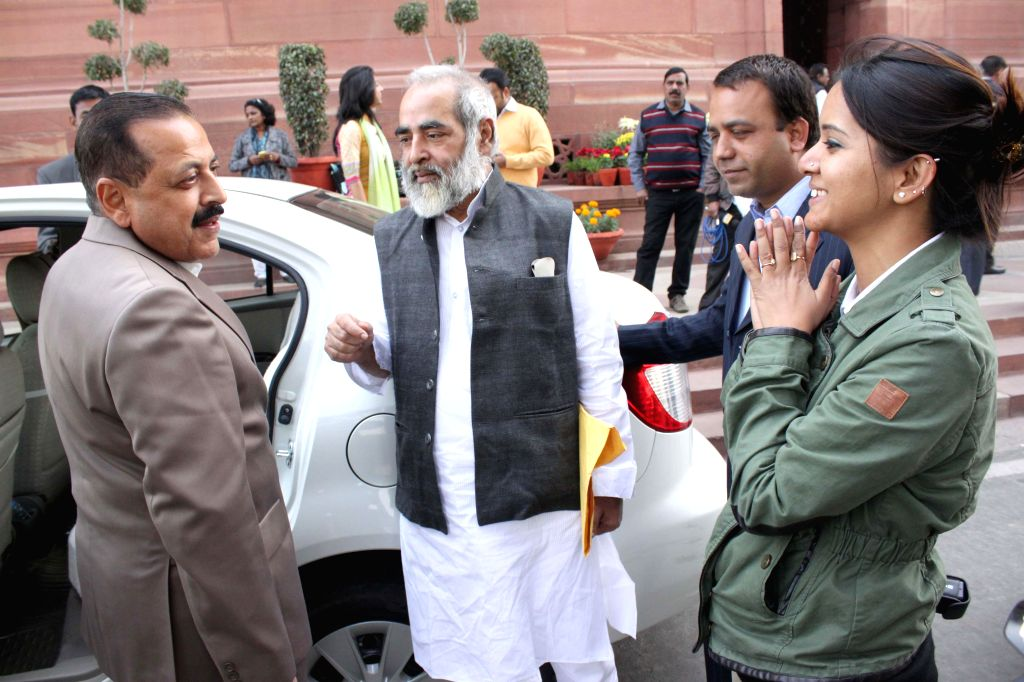 Prime Minister`s Office Personnel, Public Grievances and Pensions Department of Atomic Energy Department of Space Jitendra Singh at the Parliament House in New Delhi, on Dec 9, 2014. - Jitendra Singh