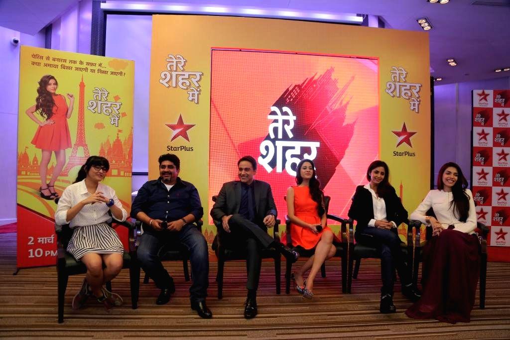 Producer Rajan Shahi with Isha Mishra (Jasmine), Anjum Fakih (Rachita), Hiba Nawab (Amaya Mathur), Sachin Tygai (Rishi) and Gautami Kapoor (Sneha) during a press conference of upcoming TV ... - Isha Mishra and Gautami Kapoor