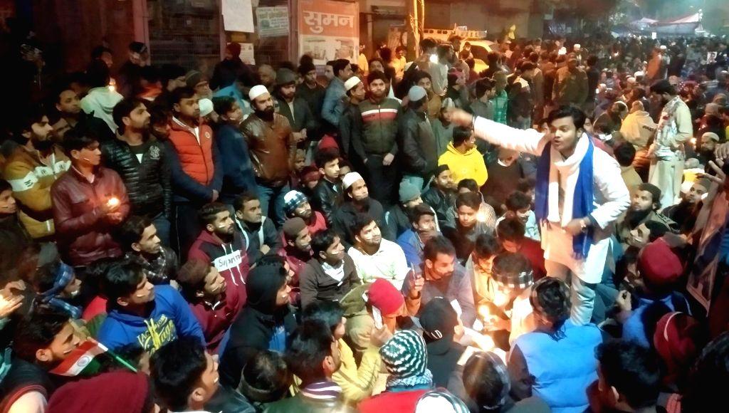 New Delhi: Protest against CAA, NRC and NPR at Yamuna vihar road Chand bagh in north east Delhi on Jan 18, 2020. (Photo: IANS)