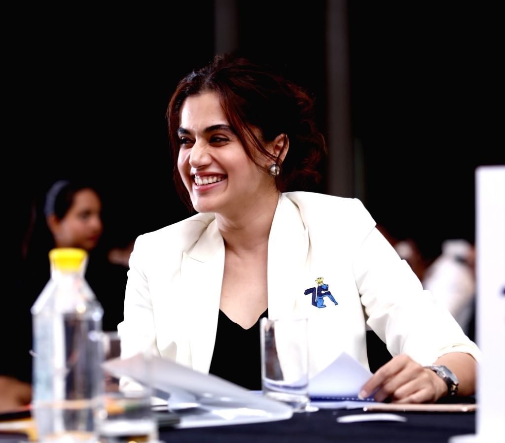 New Delhi: Pune 7 Aces Co-founder Taapsee Pannu during the PBL season 5 auction.