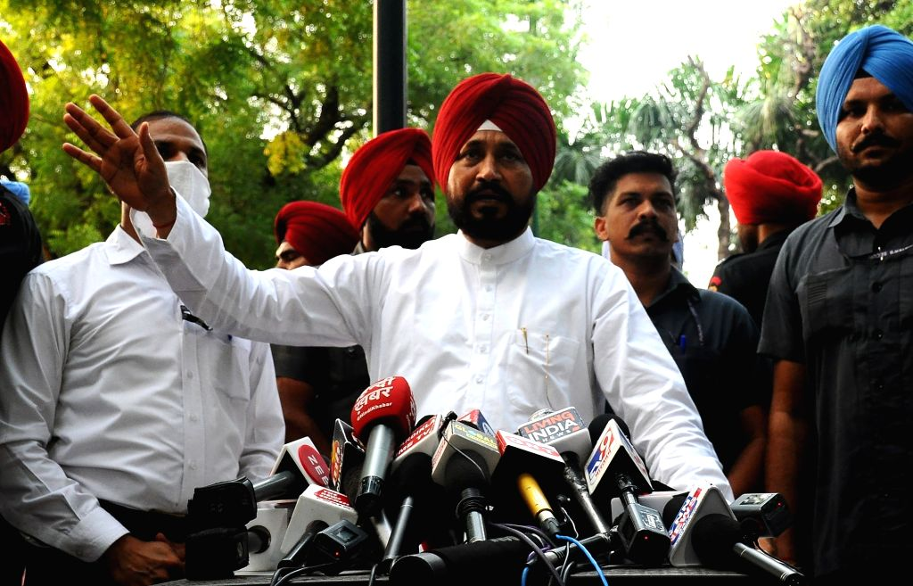 New Delhi:Punjab Chief Minister Charanjit Singh Channi addresses to media after meeting with Prime Minister Narendra Modi in New Delhi on Friday October 01, 2021. - Charanjit Singh Channi and Narendra Modi