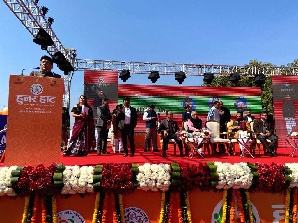"New Delhi: Railway Minister Piyush Goyal addresses after the inauguration of ""Hunar Haat"" organised at India Gate Lawns, Rajpath in New Delhi on Feb 13, 2020. (Photo: IANS) - Piyush Goyal"