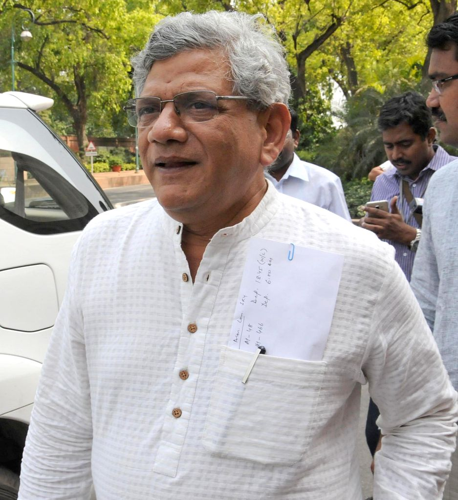 Rajya Sabha member and CPI-M general secretary Sitaram Yechury at the Parliament in New Delhi, on April 24, 2015.