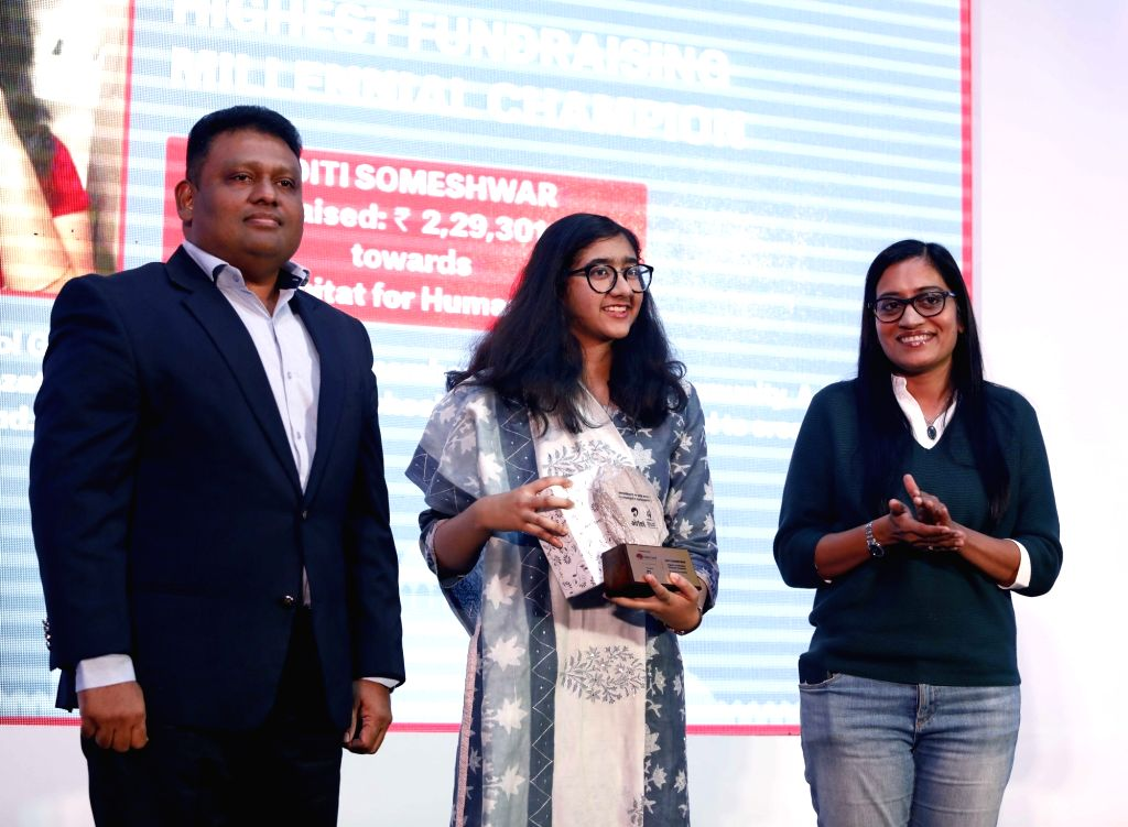 New Delhi Range Joint Commissioner Anand Mohan, Highest Millennial Champion Aditi Someshwar and Bharti Airtel (Delhi/NCR) CEO Vani Venkatesh during a programme in New Delhi on Dec 6, 2019.