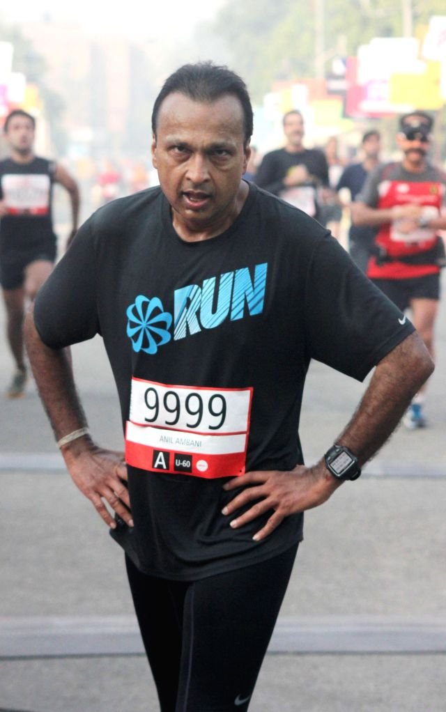 Reliance ADAG chairman Anil Ambani who participated in Airtel Delhi Half Marathon at Jawaharlal Nehru Stadium in New Delhi on Nov 23, 2014.