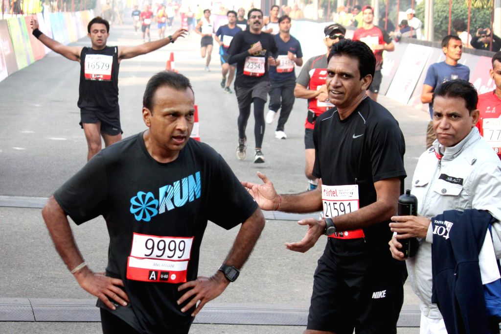 Reliance ADAG chairman Anil Ambani who participated in the Airtel Delhi Half Marathon at Jawaharlal Nehru Stadium in New Delhi on Nov 23, 2014.