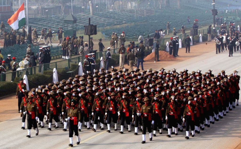 Republic Day rehearsals underway at Rajpath in New Delhi, on Jan 18, 2015.
