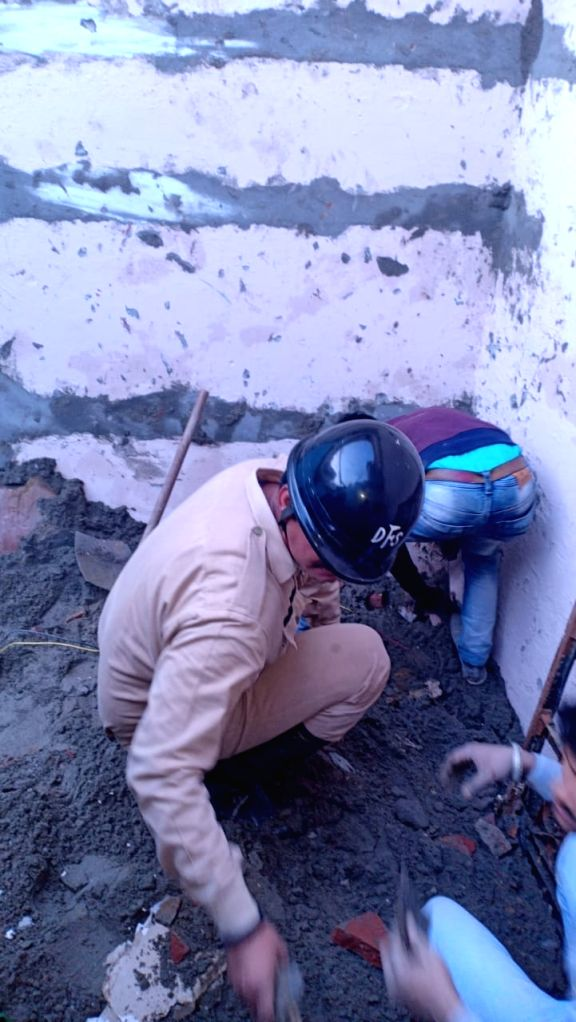 New Delhi: Rescue operations underway after an under-construction building collapsed, injuring 10, in north-east Delhi's Bhajanpura area on Jan 25, 2020. Teams of Delhi Fire Services (DFS) have been rushed to the site of collapse to carry out the res